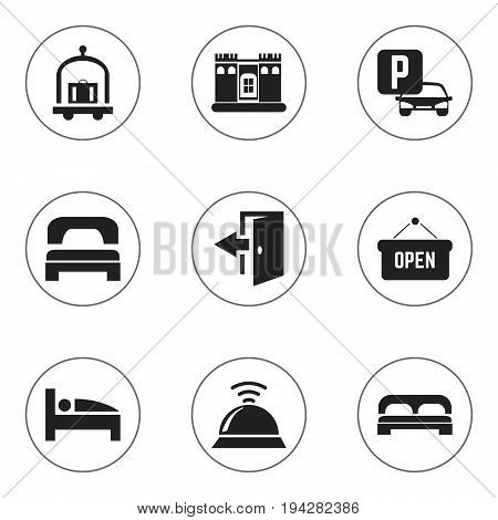 Set Of 9 Editable Hotel Icons. Includes Symbols Such As Outlet, Sleeping, Auto Stand. Can Be Used For Web, Mobile, UI And Infographic Design.