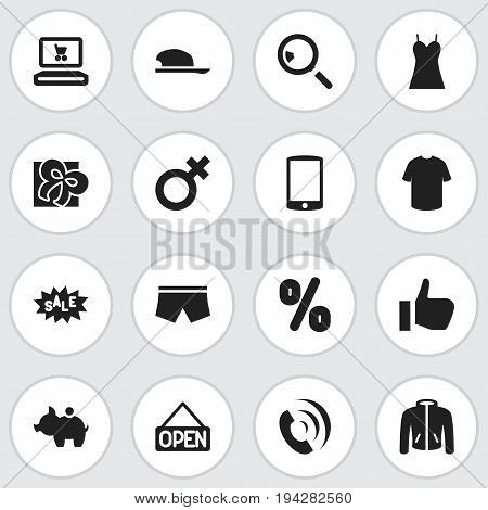 Set Of 16 Editable Trade Icons. Includes Symbols Such As Swimming Trunks, Research, Garment And More. Can Be Used For Web, Mobile, UI And Infographic Design.