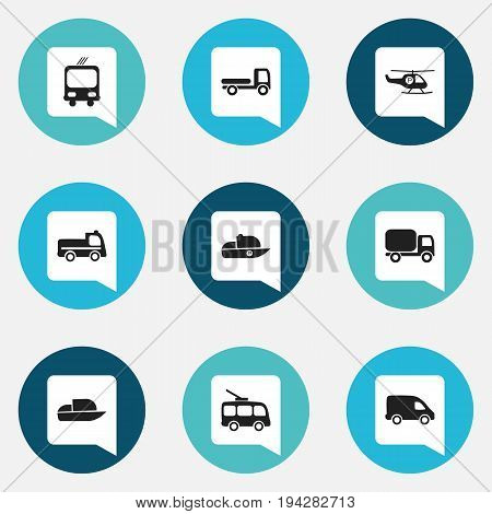 Set Of 9 Editable Transportation Icons. Includes Symbols Such As Haulage, Omnibus, Transportation And More. Can Be Used For Web, Mobile, UI And Infographic Design.