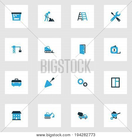 Building Colorful Icons Set. Collection Of Glass, Lifting Hook, Stairs And Other Elements. Also Includes Symbols Such As Tools, Casement, Maintenance.