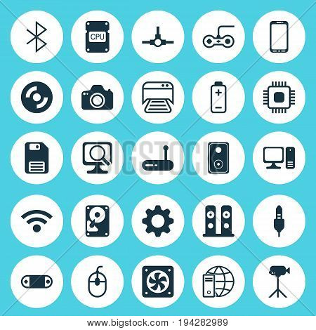 Hardware Icons Set. Collection Of Printed Document, Battery, Cpu And Other Elements. Also Includes Symbols Such As Computer, Phone, Movie.