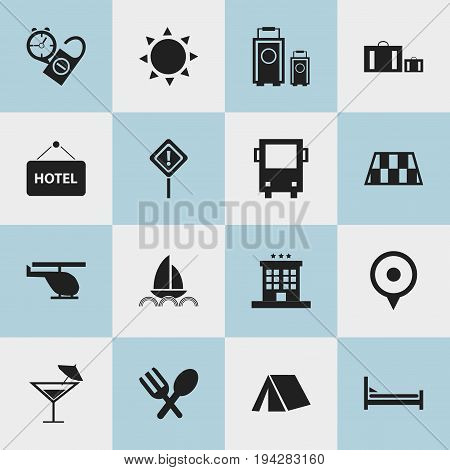 Set Of 16 Editable Journey Icons. Includes Symbols Such As Luxury Inn, Cocktail, Tent And More. Can Be Used For Web, Mobile, UI And Infographic Design.