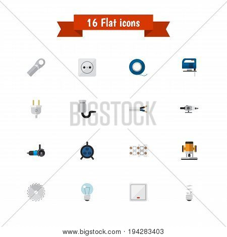 Set Of 16 Editable Electric Icons. Includes Symbols Such As Grinding Machine, Blowpipe, Lightbulb And More. Can Be Used For Web, Mobile, UI And Infographic Design.