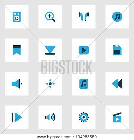 Media Colorful Icons Set. Collection Of File, Bullhorn, Bottom And Other Elements. Also Includes Symbols Such As Headphone, Arrow, Magnifier.