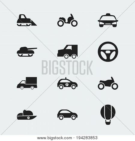 Set Of 12 Editable Shipment Icons. Includes Symbols Such As Weapon, Drive Control, Vessel And More. Can Be Used For Web, Mobile, UI And Infographic Design.