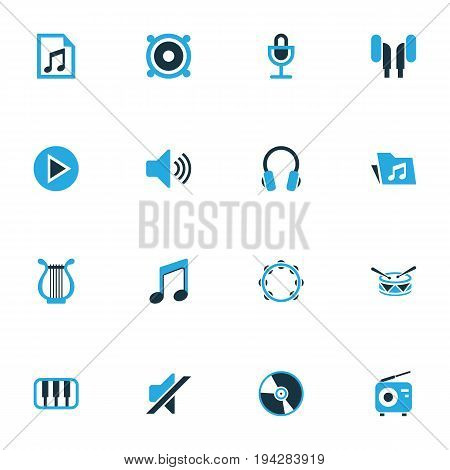 Audio Colorful Icons Set. Collection Of Microphone, Playlist, Tambourine And Other Elements. Also Includes Symbols Such As Barrel, Tambourine, Play.
