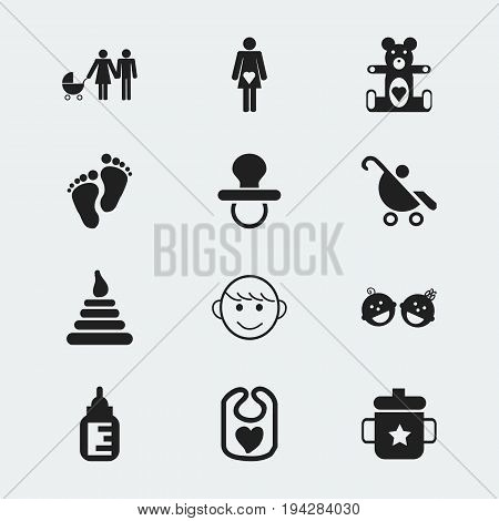 Set Of 12 Editable Baby Icons. Includes Symbols Such As Tower, Family, Footmark And More. Can Be Used For Web, Mobile, UI And Infographic Design.