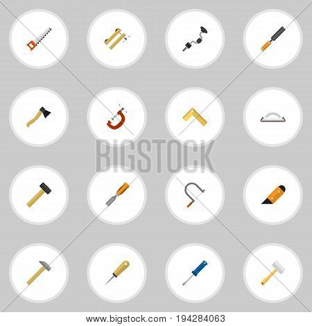 Set Of 16 Editable Apparatus Icons. Includes Symbols Such As Rasp, Clinch, Bodkin And More. Can Be Used For Web, Mobile, UI And Infographic Design.