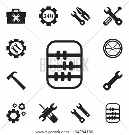 Set Of 12 Editable Repair Icons. Includes Symbols Such As Service, Cogwheels, Settings And More. Can Be Used For Web, Mobile, UI And Infographic Design.