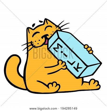 Cartoon orange cat is drinking milk. Funny cartoon cool character. Contour freehand digital drawing cute cat. White color background. Cheerful pet for web icons and shirt. Isolated vector illustration.