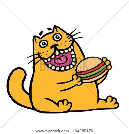 Cartoon orange cat is eating a hamburger. Funny cool character. Contour freehand digital drawing cute cat. White color background. Cheerful pet for web icons and shirt. Isolated vector illustration.