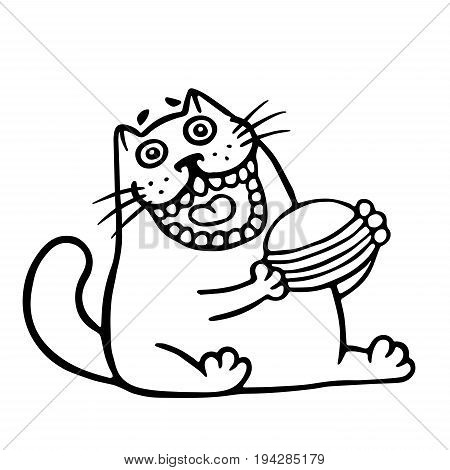 The cat is eating a hamburger. Funny cartoon cool character. Contour freehand digital drawing cute cat. White color background. Cheerful pet for web icons and shirt. Isolated vector illustration.