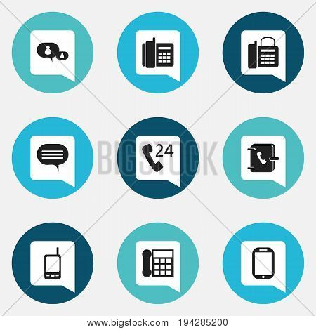Set Of 9 Editable Phone Icons. Includes Symbols Such As Forum, Calling Device, Home Cellphone And More. Can Be Used For Web, Mobile, UI And Infographic Design.
