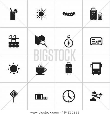 Set Of 16 Editable Journey Icons. Includes Symbols Such As Briefcase, Caution, Solar And More. Can Be Used For Web, Mobile, UI And Infographic Design.