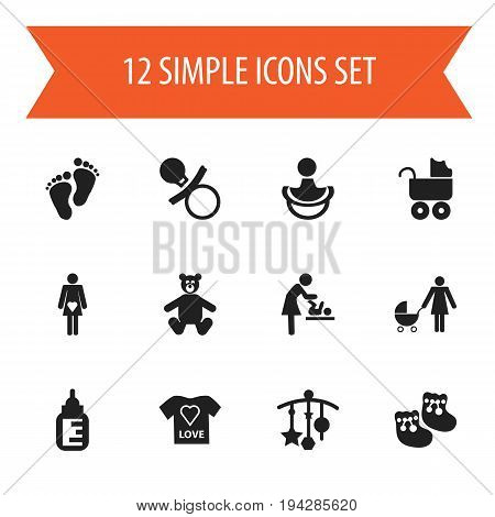 Set Of 12 Editable Kid Icons. Includes Symbols Such As Perambulator, Pregnant Lady, Baby Bottle And More. Can Be Used For Web, Mobile, UI And Infographic Design.