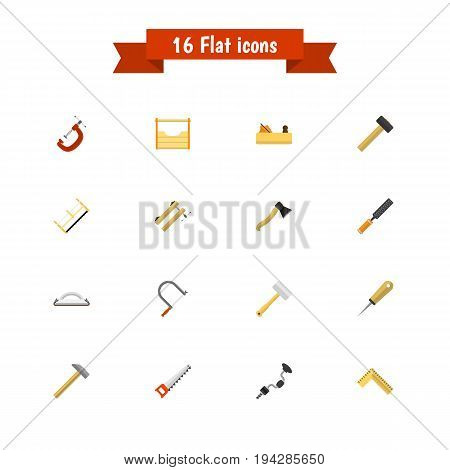 Set Of 16 Editable Tools Icons. Includes Symbols Such As Hacksaw, Handsaw, Tool. Can Be Used For Web, Mobile, UI And Infographic Design.