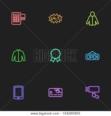 Set Of 9 Editable Trade Icons. Includes Symbols Such As Cardigan, Sale Label, Card Reader And More. Can Be Used For Web, Mobile, UI And Infographic Design.