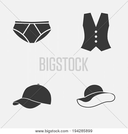 Garment Icons Set. Collection Of Elegant Headgear, Briefs, Trilby And Other Elements. Also Includes Symbols Such As Cap, Hat, Waistcoat.