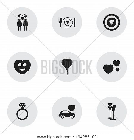 Set Of 9 Editable Love Icons. Includes Symbols Such As Happy, Celebration, Dear And More. Can Be Used For Web, Mobile, UI And Infographic Design.
