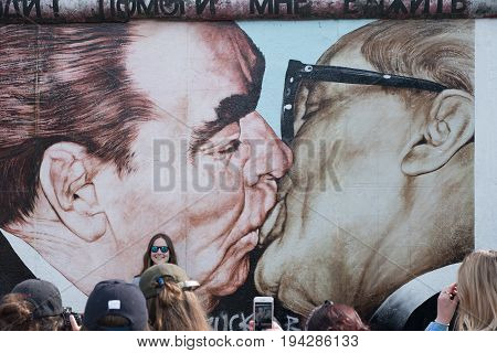 Mural Paint By  Former Soviet Leader Leonid Brezhnev Kissing His East German Counterpart Erich Honec