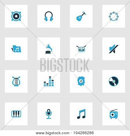 Music Colorful Icons Set. Collection Of Music Lover, Piano, Mixer And Other Elements. Also Includes Symbols Such As Microphone, Note, Meloman.