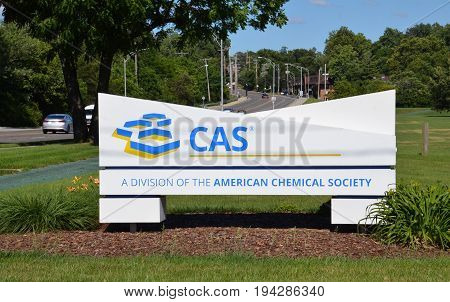 COLUMBUS OH - JUNE 27: The entrance of the Chemical Abstract Service is shown on June 25 2017. They maintain many databases of scientific and technology information.