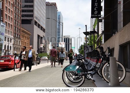 COLUMBUS OH - JUN 28: A CoGo bicycle rental station in downtown Columbus OH is shown on June 27 2017. The system comprises 41 stations and 365 bikes