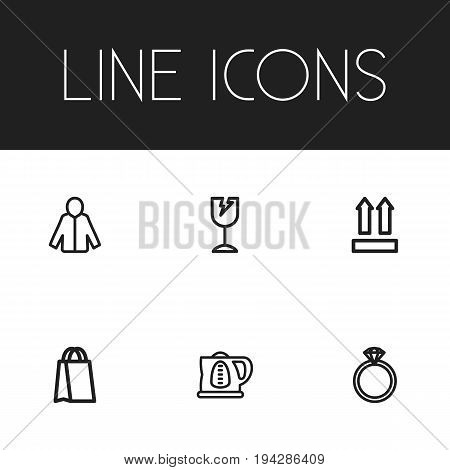Set Of 6 Editable Business Icons. Includes Symbols Such As Kettle, Broken Glass, Qr Code And More. Can Be Used For Web, Mobile, UI And Infographic Design.