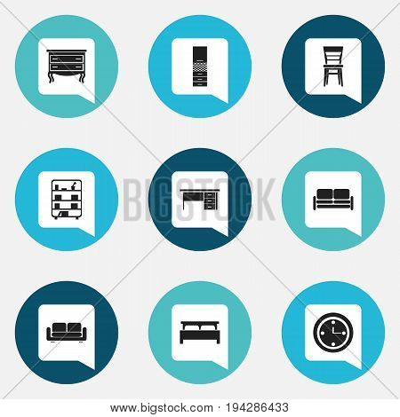 Set Of 9 Editable Furnishings Icons. Includes Symbols Such As Davenport, Stillage, Material Cupboard And More. Can Be Used For Web, Mobile, UI And Infographic Design.