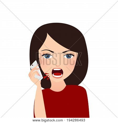 woman complain on phone angry complain upset shouting to company services mobile vector