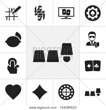 Set Of 12 Editable Casino Icons. Includes Symbols Such As Puzzle, Casino Chip, Fortune And More. Can Be Used For Web, Mobile, UI And Infographic Design.
