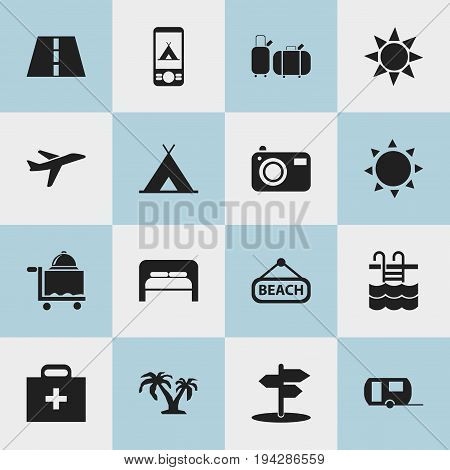 Set Of 16 Editable Journey Icons. Includes Symbols Such As Path, Solar, Basin And More. Can Be Used For Web, Mobile, UI And Infographic Design.