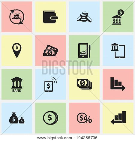 Set Of 16 Editable Finance Icons. Includes Symbols Such As Bucks, Loan, Greenback And More. Can Be Used For Web, Mobile, UI And Infographic Design.