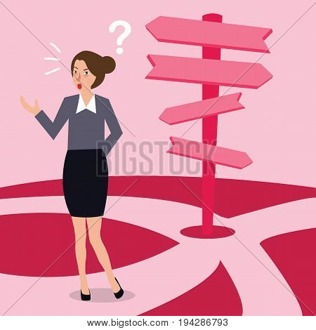 business woman confused making decision direction over choice road pathway future arrow concept vector