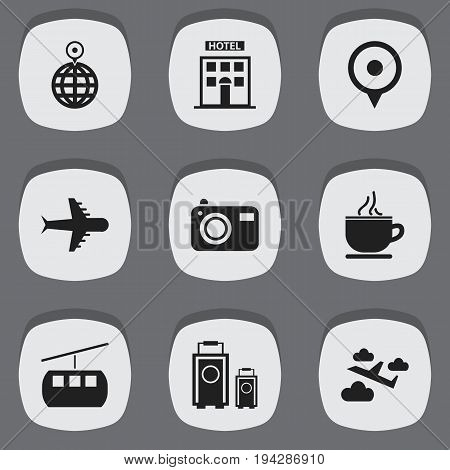 Set Of 9 Editable Travel Icons. Includes Symbols Such As Aviation, Luggage, Photography And More. Can Be Used For Web, Mobile, UI And Infographic Design.