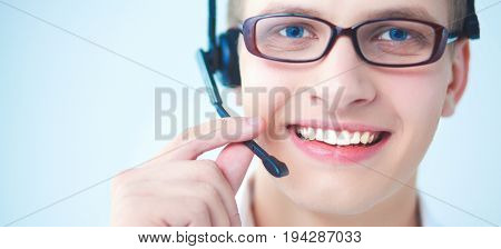 Customer support operator with a headset on white background.