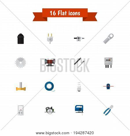 Set Of 16 Editable Instruments Icons. Includes Symbols Such As Circular, Adhesive, Buzzsaw And More. Can Be Used For Web, Mobile, UI And Infographic Design.