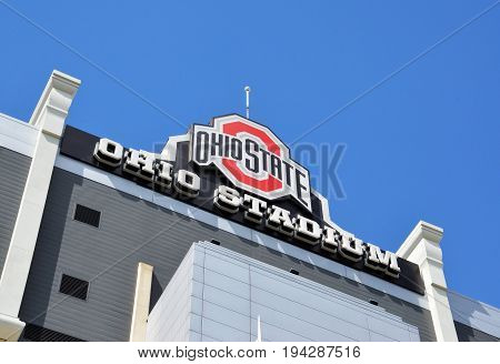 COLUMBUS OH - JUNE 25: The sign for Ohio Stadium in Columbus Ohio is shown on June 25 2017. It is the home of the Ohio State University Buckeyes.