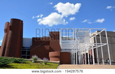 COLUMBUS OH - JUNE 25: The Wexner Center for the Arts in Columbus Ohio is shown on June 25 2017. It was renovated in October 2005.