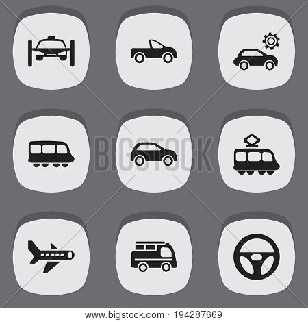 Set Of 9 Editable Shipment Icons. Includes Symbols Such As Lorry, Motorbus, Airplane And More. Can Be Used For Web, Mobile, UI And Infographic Design.