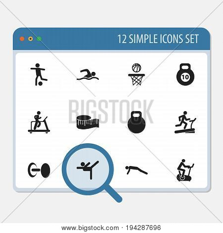 Set Of 12 Editable Lifestyle Icons. Includes Symbols Such As Acrobatics, Football, Training Pool And More. Can Be Used For Web, Mobile, UI And Infographic Design.