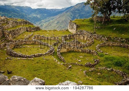 Ancient ruins of lost city in Kuelap, near Chachapoyas, Peru