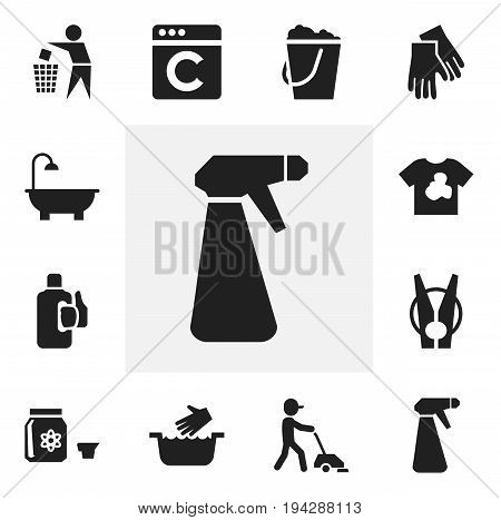 Set Of 12 Editable Cleaning Icons. Includes Symbols Such As Bleach, Pulverizer, Peg And More. Can Be Used For Web, Mobile, UI And Infographic Design.