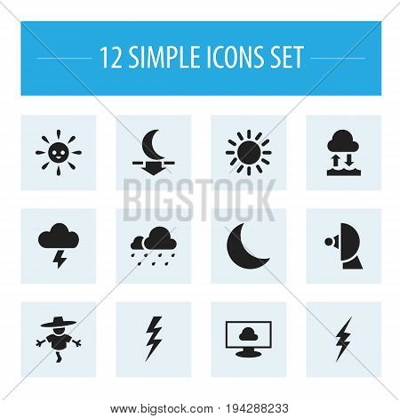 Set Of 12 Editable Weather Icons. Includes Symbols Such As Stormy, Evaporation Condensation, Night And More. Can Be Used For Web, Mobile, UI And Infographic Design.