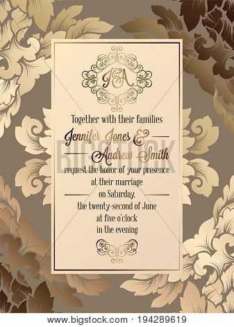 Vintage Baroque Style Wedding Invitation Card Template.. Elegant Formal Design With Damask Backgroun