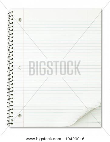 Notebook with nice page curl isolated on pure white