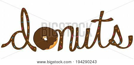 Yummy Donut Lettering with Sprinkles on White Background