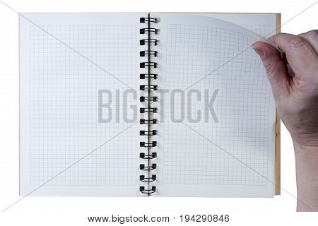 Hand on empty notepad isolated on white