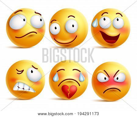 Smileys vector set. Smiley face or yellow emoticons with facial expressions and emotions like happy, shy, angry and broken heart isolated in white background. Vector illustration.