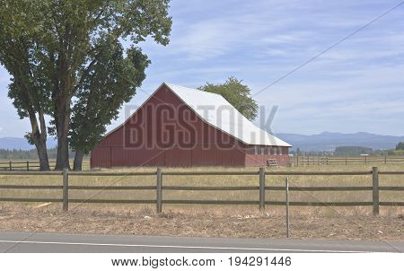 Large barn in the Willamette valley Oregon.